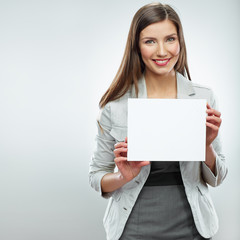 Smile Business woman portrait with blank white banner, board on
