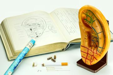 Ohrmodell mit Lehrbuch, Akupunkturnadeln und Moxazigarre