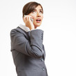 Business woman portrait phone talking. White background isolate