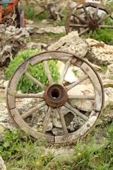 Old retro wheel, outdoors