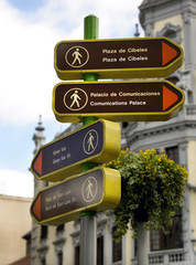 Vertical signal for pedestrian in Madrid. Spain