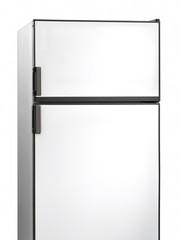 Old white fridge isolated on white