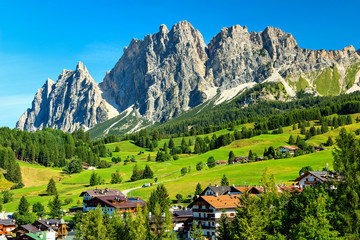 Green meadows and high mountains above Cortina D ampezzo,Italy