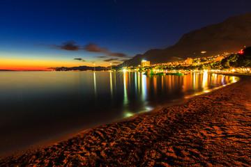 A view of Makarska beach,at dusk,Dalmatia,Croatia,Europe