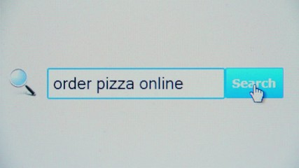 Order pizza online - browser search query, Internet web page
