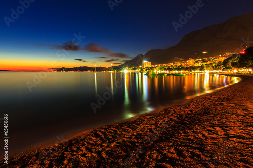 A view of Makarska beach,at dusk,Dalmatia,Croatia,Europe