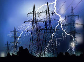 black pylons and white lightnings