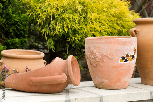 Ceremic jug in garden