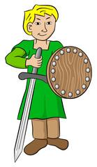 Knappe mit Schwert und Schild