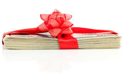 Stack of Cash With Red Bow Isolated on White