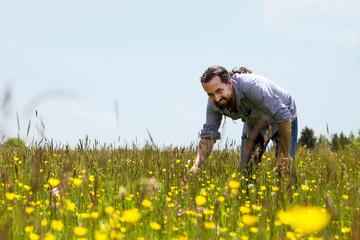 Langhaariger und bärter Mann inmitten einer bunten Blumenwiese
