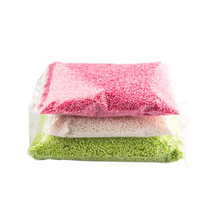 Pink, green and white sago pearl in plastic pack