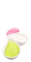 Pink, green, white sago pearl in ceramic container