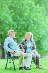 Mature couple having a conversation in park