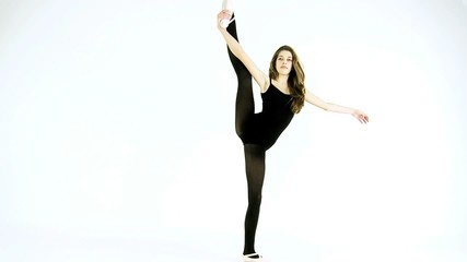 Teenager dancer posing in studio