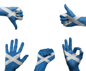 Hand set with the flag of Scotland