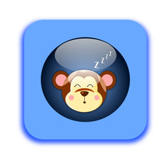 Bottone con scimmia che dorme