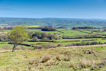 Mendip Hills Somerset towards Blagdon lake and Chew Valley