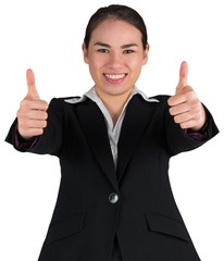 Happy businesswoman showing thumbs up