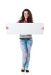 Girl with blank placard board