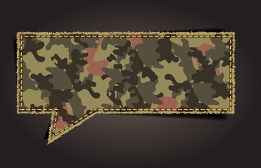 Speech bubble of camouflage fabric pattern shape