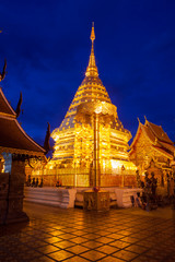 Doi Suthep Temple in Chiengmai, Thailand at Twilight Time