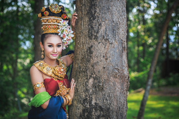 Thai girl with northern style dress