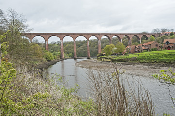Large viaduct over river