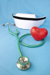 Stethoscope and nurse hat and heart