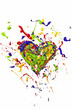Red green blue yellow paint made heart