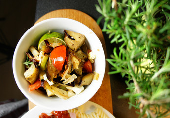 Mix of grilled vegetables on the plate