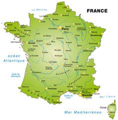 Übersichtskarte von Frankreich