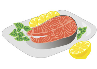 steak red fish with a lemon on a white plate