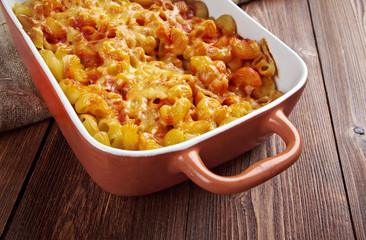 pasta Elbow macaroni  bake with pancetta