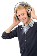 Happy teenage boy wear headphones