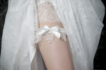 White lace stockings bride
