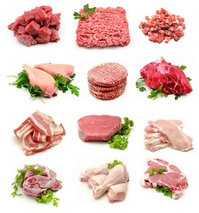 Collage de carnes crudas