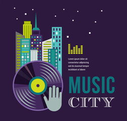 Music and night life of city landscape background