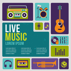 Music infographic and icon set of instruments