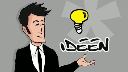 Ideen Teamgeist Kompetenz Marketing Erfolg Zeichentrickfilm