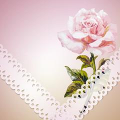 Rose. Summer flowers invitation template card