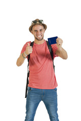 Young handsome guy holding up passport ready for adventure