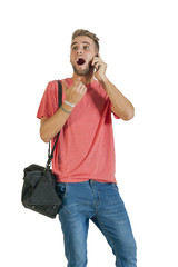 Young handsome guy having conversation on mobile phone