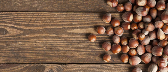 Hazelnut on wood