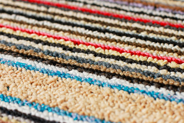 Carpet in multicolored stripes