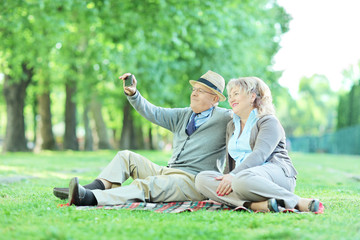 Mature couple taking selfie on a picnic in park
