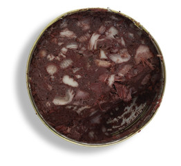 tin can with black pudding