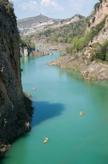 Kayaks in a Canelles Reservoir, Catalan prepyrinees, Spain