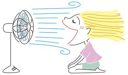 扇風機の風が好きな女の子
