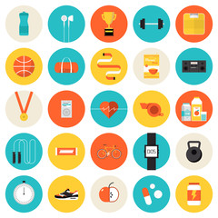 Fitness and sport flat icons set